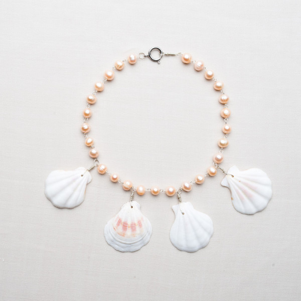 CW1_Silver Plated Pink Freshwater and Shell Necklace