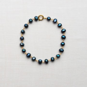 CW31_Gold Plated Blue Fresh Water Pearl Bracelet