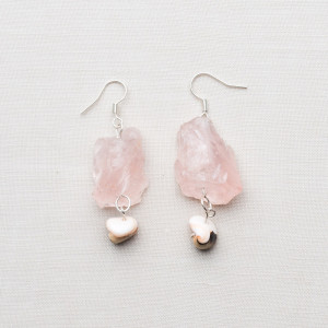 CW49_Silver Plated Raw Rose Quartz Earrings with Shells