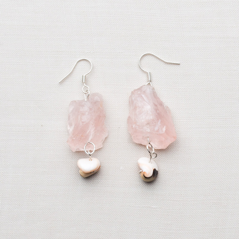 Cw49 Silver Plated Raw Rose Quartz Earrings With Ss