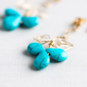 Blue Turquoise Gold Plated Earrings_3