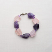 CW19_Silver Plated Raw Rose Quartz and Amethyst Bracelet
