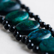CW20_Dark Teal and Black Obsidian Bracelet