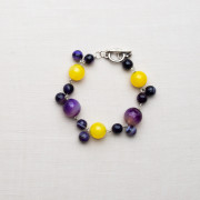 CW22_Silver Plated Purple and Yellow Agate Bracelet