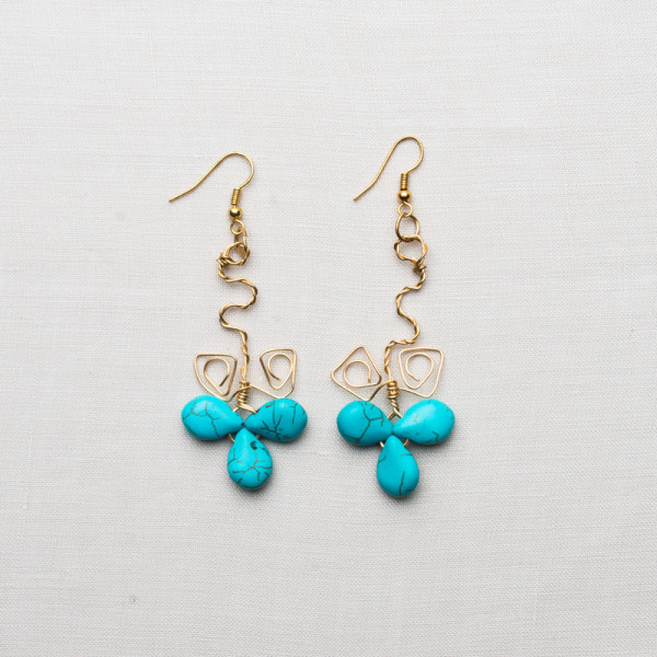 CW60_Blue Turquoise Gold Plated Earrings