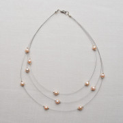 CW6_Three-Strand Pink Freshwater Pearl Necklace