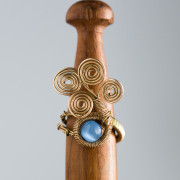 Gold Plated IMANI Ring with Blue Catseye_4