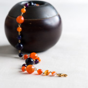 Gold Plated Orange and Purple Agate Necklace_2