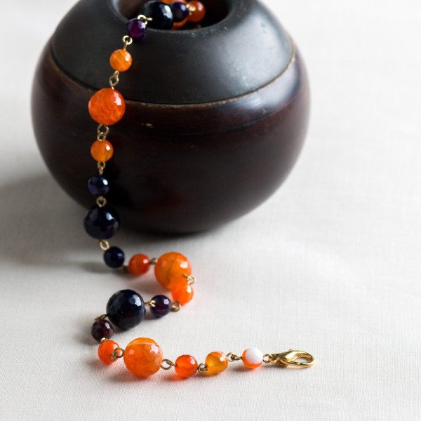 Gold Plated Orange and Purple Agate Necklace_3