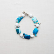 Silver Plated Blue and White Rectangle Agate Bracelet_2