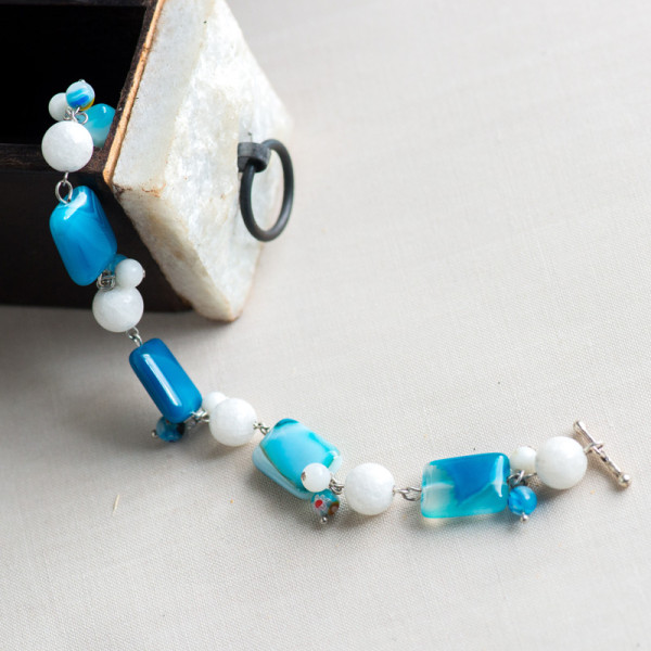 Silver Plated Blue and White Rectangle Agate Bracelet_4