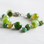 Silver Plated Green Agate Bracelet_3