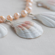 Silver Plated Pink Freshwater and Shell Necklace_5