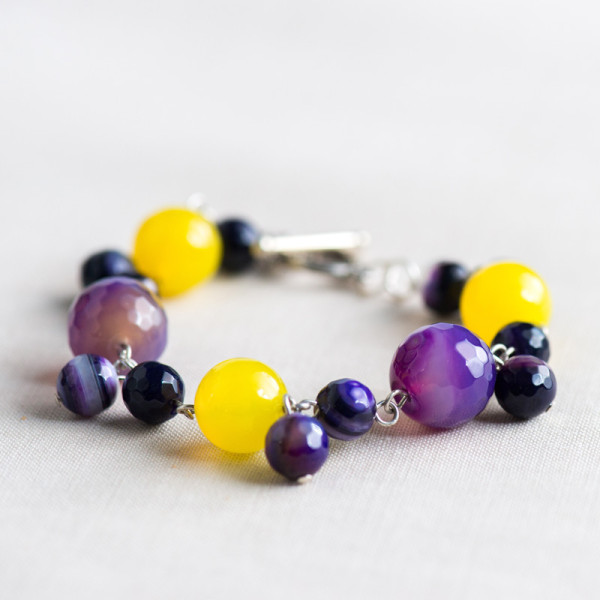 Silver Plated Purple and Yellow Agate Bracelet_2