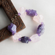 Silver Plated Raw Rose Quartz and Amethyst Bracelet_2