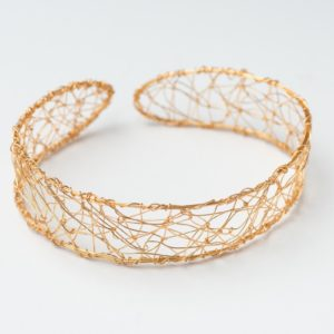 CWH11_Gold plated web collar necklace (2)