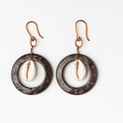 CWH13_Copper coconut and shell earrings