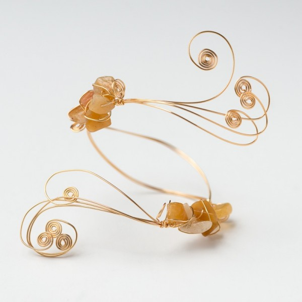 CWH14_Gold plated bracelet with polished citrine
