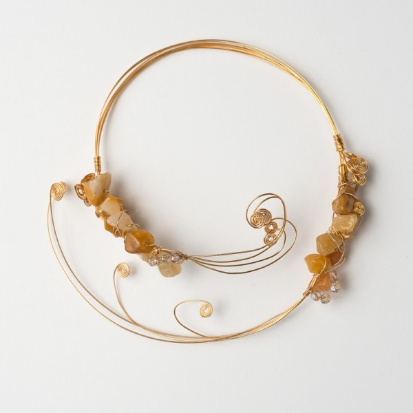 CWH15_Gold plated necklace with polished citrine