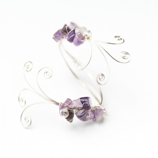 CWH18_Silver plated bracelet with polished amethyst (2)