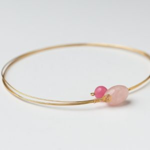 CWH1_Gold plated necklace with rose quartz and glass bead