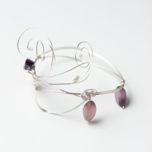 CWH20_Silver plated bracelet with glass beads (2)