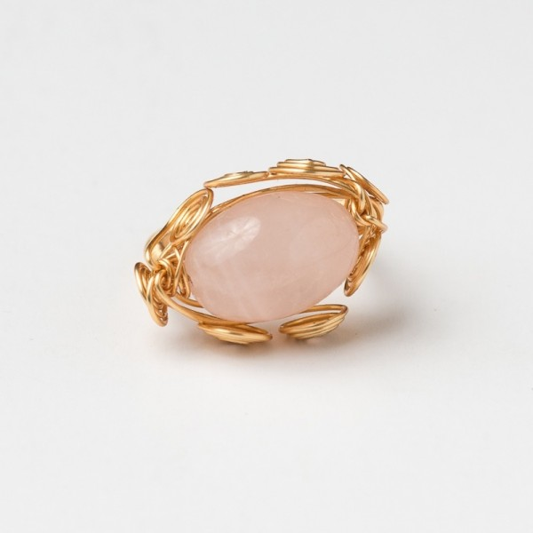 CWH2_Gold plated ring with rose quartz