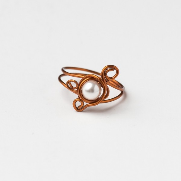 CWH9_Copper ring with freshwater pearl