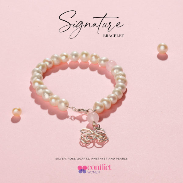 Pearl bracelet with rose quartz and silver butterfly charm